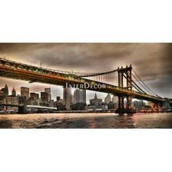 Manhattan Bridge a New York City Skyline