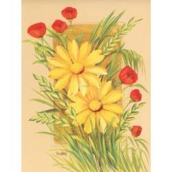 Žluté kopretiny s máky