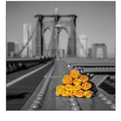 Kytice růží na Brooklynském mostě v New Yorku