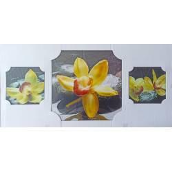 Kameny se žlutou orchidejí