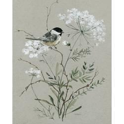 Obraz kytice s ptáčkem II