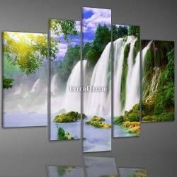 Vodopády pětidílný obraz na stěnu