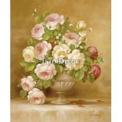 Růže ve váze 1 malba na desce