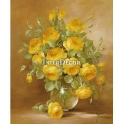 Růže ve váze 2 malba na desce
