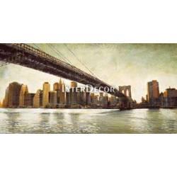 Město, obraz s mostem